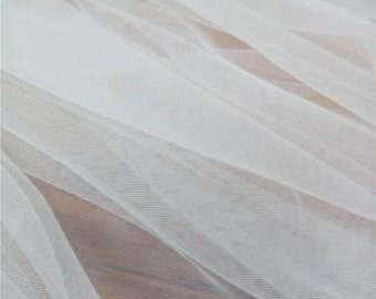 "All White Stretch Soft Tulle Fabric * Sold by the Yard * 54"" Wide * 2-Way Stretch"