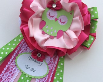 Owl baby shower corsage/Mommy to Be corsage/Pink and Green Owl baby shower corsage/Girl baby shower corsage/ Elegant baby shower corsage
