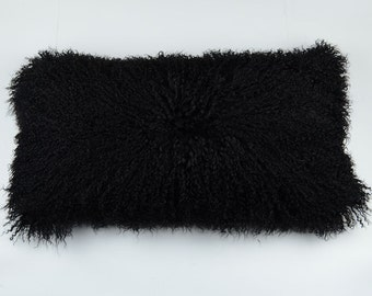 "Set of Two Black Mongolian Lamb fur Pillow Cover 11""x22"" Sheepskin Fur Pillow"