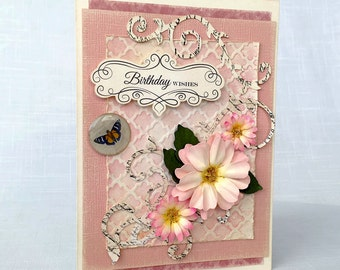 Birthday Card, Handmade Flowers Card, Vintage Card, Shabby Chic Card, Pink Flowers, Hand Painted, Embossed, Flourishes