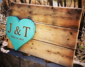 Heart Wedding Guestbook - Custom Reclaimed Wood Wedding Wall Decor