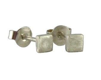 Earrings solo, silver mini squares 925 Silver earrings