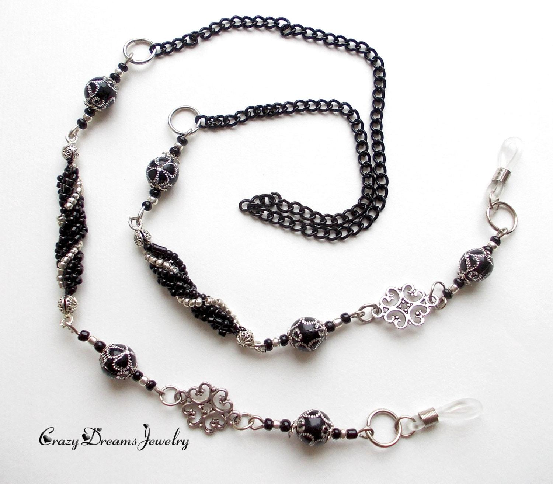 Silver Black Eyeglass Chain Necklace Eyeglass Chain Holder