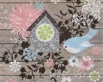Set of 2 pcs 3-ply ''Little blue bird'' paper napkins for Decoupage or collectibles 33x33cm, Decopatch napkins, Servetten