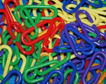 Plastic C Hooks (50 count) for Hanging toys in a Sugar Glider Cage, Bird or other Small Animal