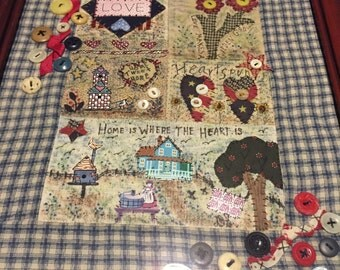Hand done, quilted picture, sayings, ribbons, buttons, cherry maghogany frame, glass, done by Doris Snowden -Cute Sampler