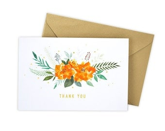 Thank You (Orange Bouquet) Greeting Card