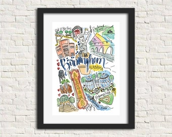 Birmingham, Alabama Watercolor Handlettered Wall Art Print 8x10 in.
