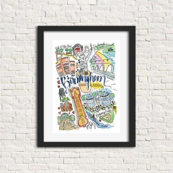 Birmingham Alabama Watercolor Handlettered Wall Art Print