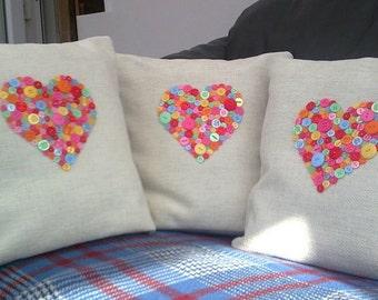 Button Heart Cushions