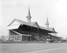 Derby Day at Churchill Downs, 1901. Vintage Photo Digital Download. Black & White Photograph. Horses, Race, Kentucky, 1900s, Historical.