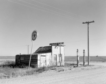 Abandoned Gas Station, 1937. Vintage Photo Digital Download. Black & White Photograph. Garage, Filling Station, 1930s, 30s, Historical.