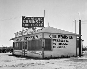 Roadside Diner, 1939. Vintage Photo Digital Download. Black & White Photograph. Cafe, Restaurant, Road Trip, Food, 1930s, 30s, Historical.