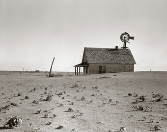 Dust Bowl Farm, 1938. Vintage Photo Digital Download. Black & White Photograph. Texas, Windmill, Desolate, Abandoned, 1930s, 30s.