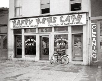 Happy News Cafe, 1937. Vintage Photo Digital Download. Black & White Photograph. Restaurant, Diner, Food, 1930s, 30s, Historical.