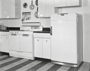 Mid-Century Kitchen, 1951. Vintage Photo Digital Download. Black & White Photograph. Cooking, Stove, Refrigerator, Americana, 1950s, 50s.