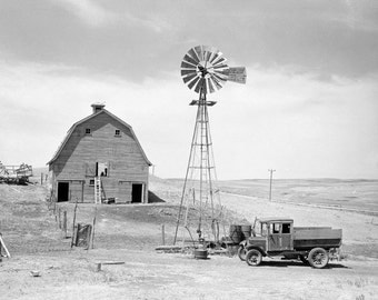 Abandoned Farm, 1936. Black & White Photograph. Vintage Photo Digital Download. Farm, Barn, Pickup Truck, Windmill, Dust Bowl, Historical.