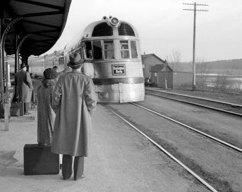 Streamlined Train at Station, 1940. Vintage Photo Digital Download. Black & White Photograph. Railroad, Travel, 1940s, 40s, Historical.