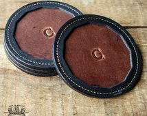 The Tavern Fine Leather Coaster Set of 4 - Debossed Letter Press Initial Coasters - Wedding Gift - Groomsman Gift - Coaster Gift Set