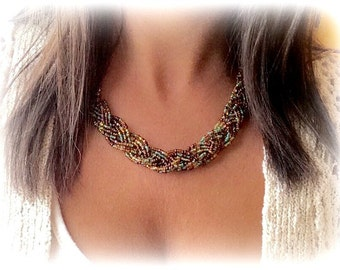 OOAK Statement Necklace, Handmade Statement Necklace, Autunm Necklace, Fall Necklace, Braided Fashion Necklace, Beaded Necklace, Holiday