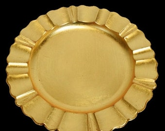 Fluted Edge Heavy Duty Charger Plate in Gold or Silver, Charger Plates For Weddings