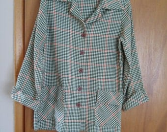 On SALE (was 19.50) Ladies Vintage 1960s -1970s Green and Red Unstructured Jacket Size 10