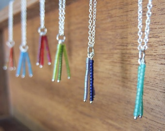 Sterling silver bead drop necklace