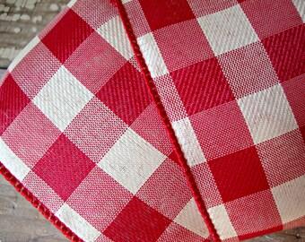 Red and Cream Buffalo Check Ribbon