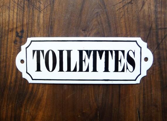plaque maill e toilettes french vintage plaque de porte. Black Bedroom Furniture Sets. Home Design Ideas