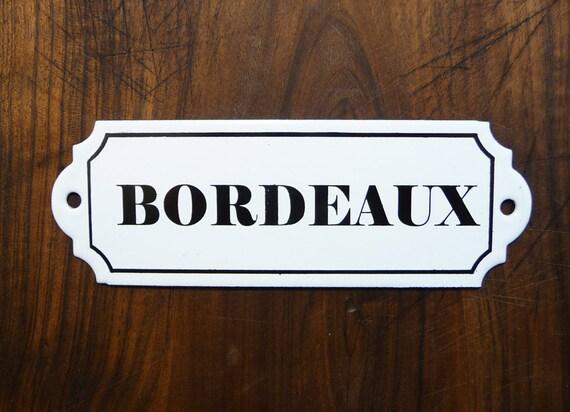 Bordeaux French Wine Enameled Plaque Antique Sign Parisian