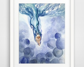 Into the Water - Watercolor Art Print