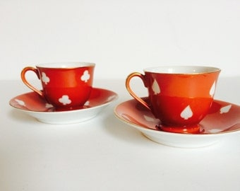 Vintage ESPRESSO Demitasse Cups with Saucer | Coral Red and White with Gold | Clubs and Spades design | Made in Occupied Japan