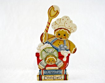 Cookie Baking, Item #RM60, Gingerbread Shelf Sitter, #RM60, ByBrendasHand, Gingerbread Kitchen Decor, Gingerbread Baker, Baking