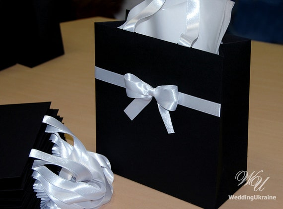 Elegant Black and White gift Bags with satin ribbon and bow