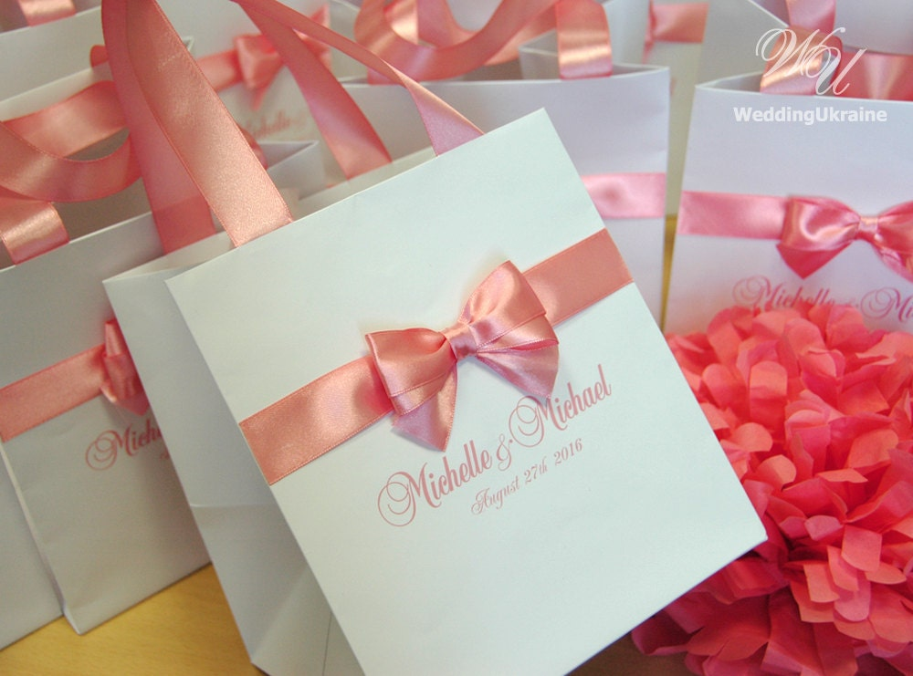 Wedding Favor Bags With Ribbon : 100 Personalized Wedding Welcome Bags with satin ribbon bow