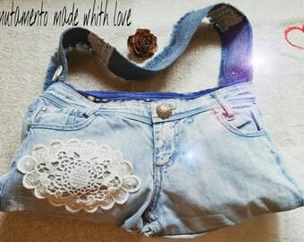Borsa jeans borsa blu tracolla borsa per lei borsa ragazza borsa moglie regalo compleanno estate pizzo e passamaneria