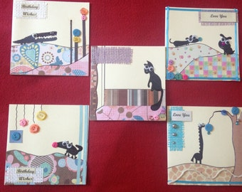 5 Pack Kira's Cute Animal  Silhouette cards