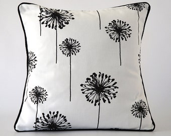 black 18x18 pillow, black white pillow cover, flower pillow, flower pillow cover, decorative pillow, throw pillow, cushion, dandelion pillow