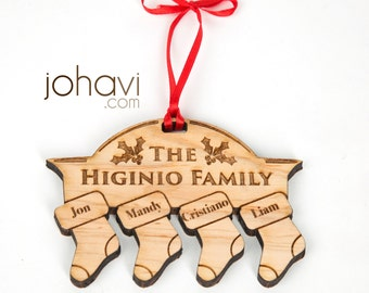 Custom Personalized Family Christmas Ornament. Stockings on a fireplace with your names. Family Ornament, Solid wood family christmas
