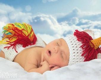 Crochet Rainbow Unicorn Newborn Set.