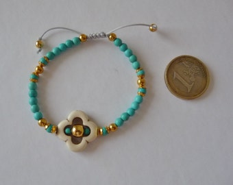 Turquoise Howlite bracelet and Golden brass