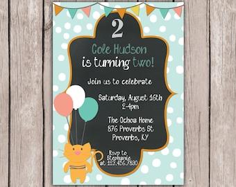 PRINTABLE- Little Boy Birthday Invite- Kitty Birthday Invite- Birthday Party Invite- 5x7 JPG