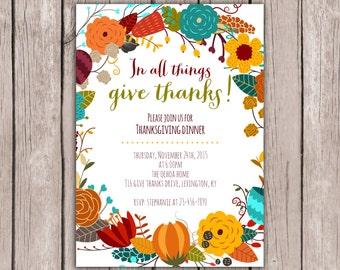Wreath- Thanksgiving Dinner Invitation- Fall Party Invitation- Thanksgiving Feast Invite- Friendsgiving Invite- 5x7 JPG
