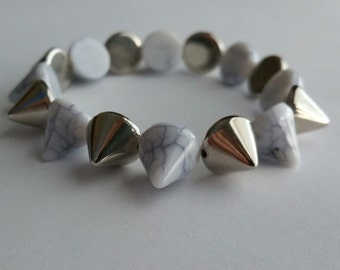 Silver Spike Bracelet, Stretchy Spike Bracelet, Gothic Spike Jewelry, Unique Gift Idea, Statement Jewelry, Costume Jewelry, Spiky Bracelet