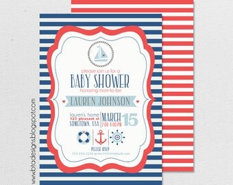 Nautical Baby Shower Invitation 2 for Boy, Girl, or Gender Neutral, Customized, Digital File