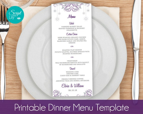 Items similar to snowflake menu card templates winter for Dinner menu template for home