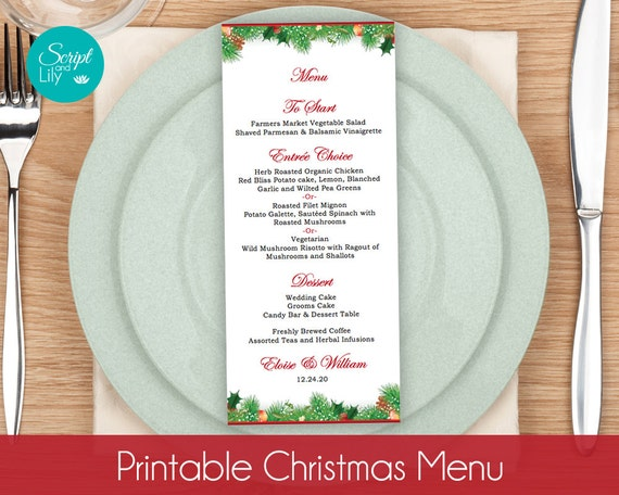 Christmas Menu Card TEMPLATES Winter Wonderland Wedding – Christmas Menu Word Template