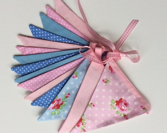 Bunting flags retro style/ floral garland/ party pennant banner/ new baby gift/ retro home decor/  pastel floral garland/ nursery bunting