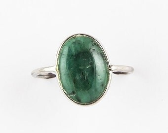 20% off Natural Emerald Ring Stacking Ring Size US 7.5 Ring, 925 Solid Sterling Silver emerald ring smooth ring, cabochon ring handmade ring