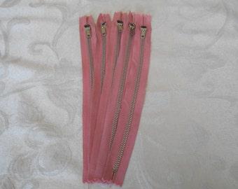 Metal Zippers Vintage Purse Zippers Bulk Lot of Zippers Pink